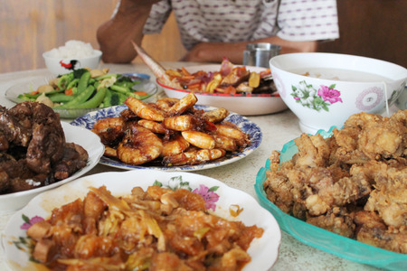 chinese new year food: Chinese traditional family Reunion dinner