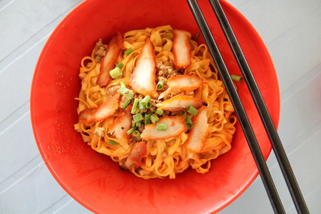mie noodles: Kolo Mee red - popular sarawak street food