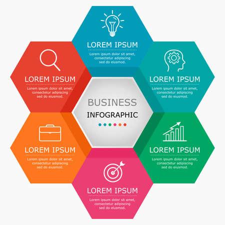 Business infographic Vector with 6 steps. Vektoros illusztráció