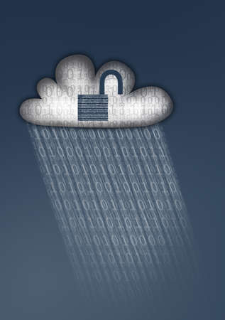 Illustration of a white cloud with an unlocked padlock in a dark sky. The cloud is raining binary data, symbolising data vulnerability in the Cloud. Stock Photo