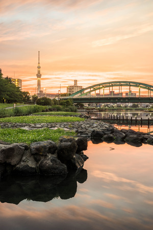 sumida ku: Tokyo Skytree is a broadcasting, restaurant, and observation tower in Sumida, Tokyo, Japan. Stock Photo