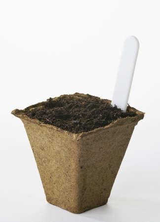 turba: Pot de planta de turba con compost y etiqueta Foto de archivo