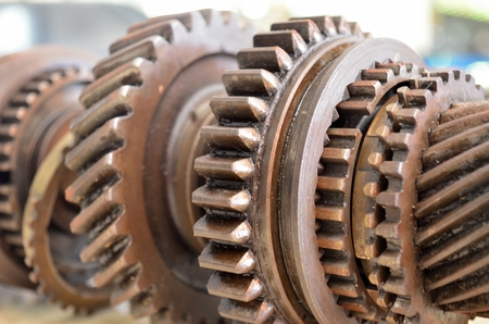 Gear.gear components removed for repair and maintenance. keep working Stock Photo