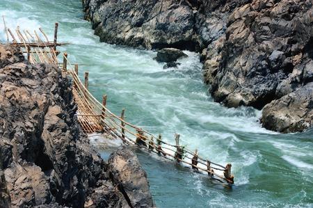 mekong: Powerful torrent at Li Phi Waterfalls Champasak in southern Laos Stock Photo