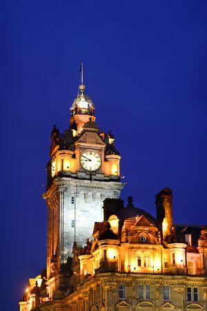 edinburgh: Edinburgh Clock Tower at dusk