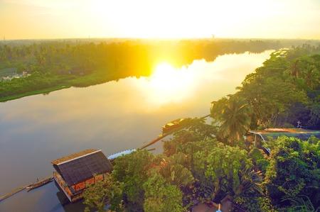 tha: Sunset over the Tha Chin River, Nakhon Pathom, Thailand