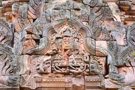 lintel: Sandstone lintel at main tower of Phanom Rung Historical Park, Buriram, Thailand