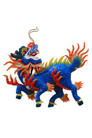 chinesse: Colorful dragon head unicorn on white isolate background