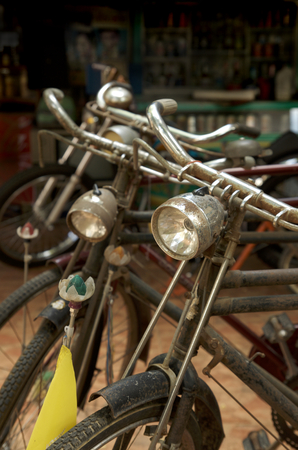 fash: old retro bike cycle decorate in museam Stock Photo