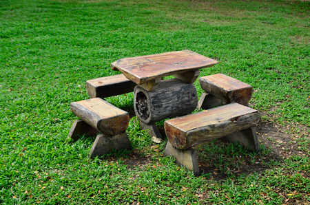 chairs: wooden chairs in park