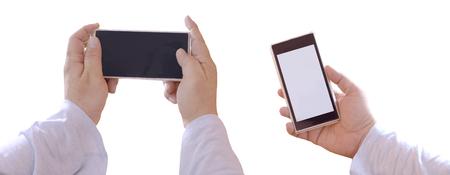 digitals: smart phone on hand isolate.