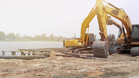 Dig car machine in jobsite 免版税图像