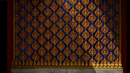 Shade and shadow  on Thai style art wall in . Buddha  church Publikacyjne