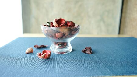 dried flowers in glass put on table.It decorate in living room Stock fotó