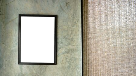 White screen in wood frame hanging on loft wall .work space background