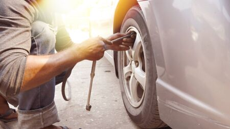 Check tire pressure  For the safety of traveling Stock fotó