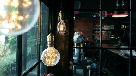 Led lamp lighting hanging  decorate in modern cafe Stock fotó