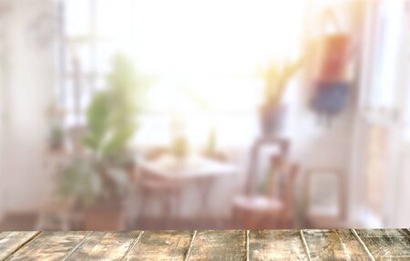 space of  top table .Background is indoor garden .Mockup background idea