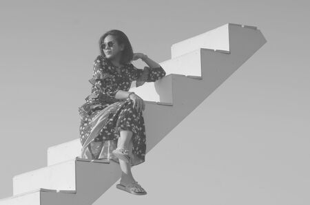 Thailand lady on air step.fashion photo