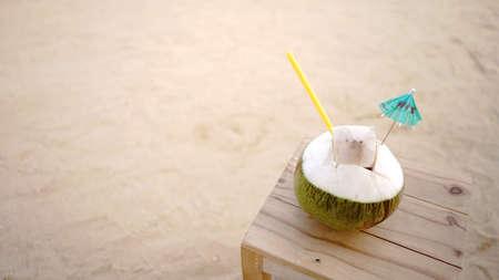 coconut on sand beach .Space sand floor background Stock fotó - 153013829