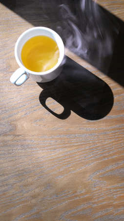 Hot coffee cup  or tea cup on wood table .hot drinking Stock fotó