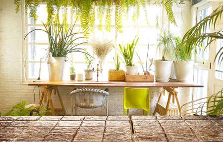 Mock up empty top wood table .Background  blur interior restaurant  indoor room