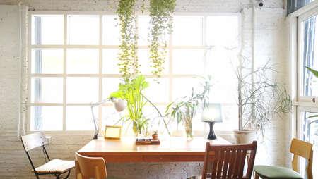 Empty living room .It decoration retro style .white room