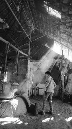 NAN ,Thailand ,11,26,2020; The culture and life of Thailand north people  .Villagers are producing rock salt with the method of boiling on a bran style stove