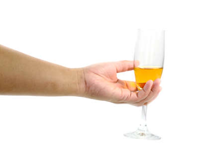 Hand  holding a wine glass on white background