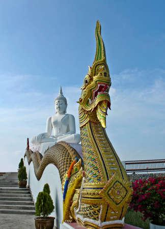 Thai guardian dragon of white buddha , thailand photo