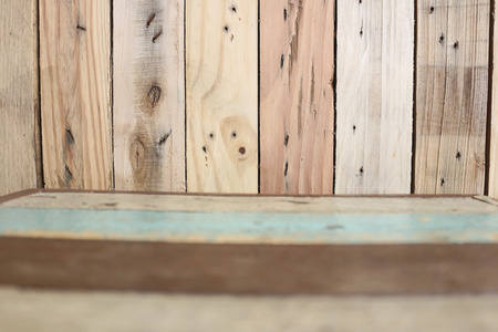 down lights: blur Wooden floor with Wooden wall texture background Stock Photo