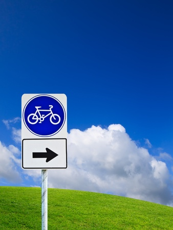 Bike sign with bicycle path photo