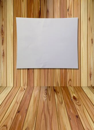 blank white paper on rubber wood background  Stock Photo