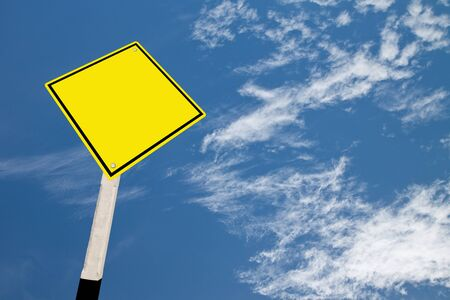 Blank yellow road warning sign (with clipping path).