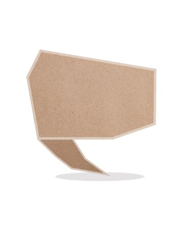 paper talk origami recycled paper-craft on white background Stock Photo
