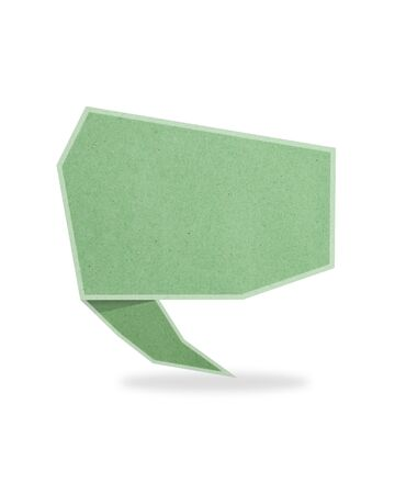green origami talk tag recycled paper craft stick on white background Stock Photo