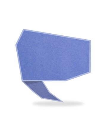 blue origami talk tag recycled paper craft stick on white background Stock Photo