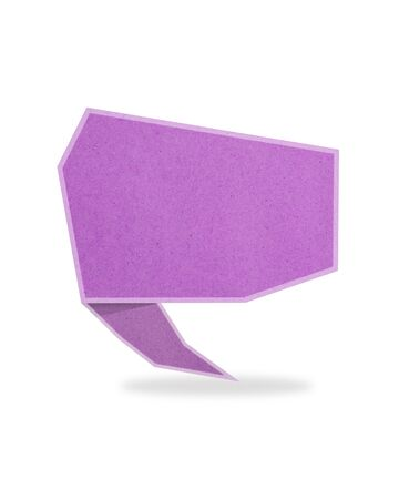 purple talk tag recycled paper craft stick on white background