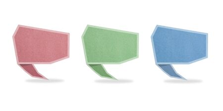 talk tag recycled paper craft stick on white background