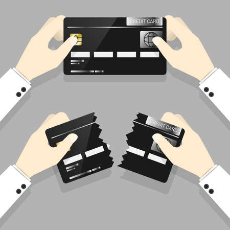 Businessman hands in white suit holding with perfect condition credit card and teared credit card on grey background. Save more by spending money wisely concept.  イラスト・ベクター素材