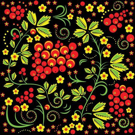 pastiche: Russian seamless pattern khokhloma painting style