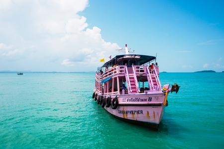 seaway: Ferry floating on the sea at Samed island, Thailand