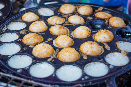 thai dessert: Thai traditional sweet takoyaki named mortar toasted pastry Stock Photo