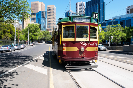 flinders: Melbourne, Australia - October 19, 2015: City circle free tram being on operation in downtown of Melbourne.