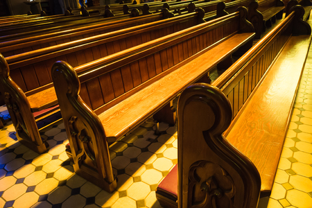 pews: Wooden bench glowing in St Patricks Cathedral, Melbourne, Australia