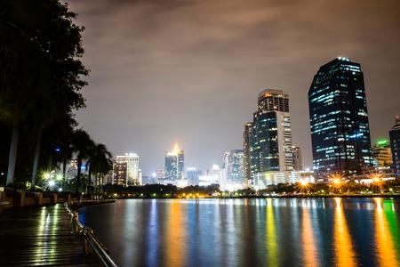 Benchakitti park night scape, a public recreation park in Bangkok, Thailand Stock Photo