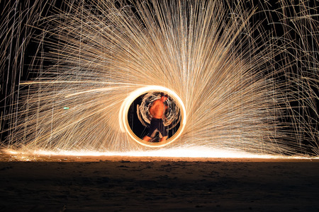 Rayong, Thailand - September 24, 2016: Fire shows performing on Koh Samet island. Editorial