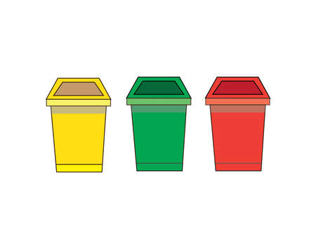 Isolated Three bin on the white background.Vector