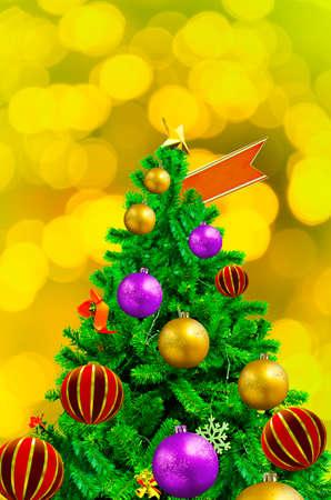 xmas background: Beautiful decorated Xmas Tree on abstract background