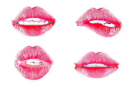 lip gloss: Beautiful red lips isolated on white